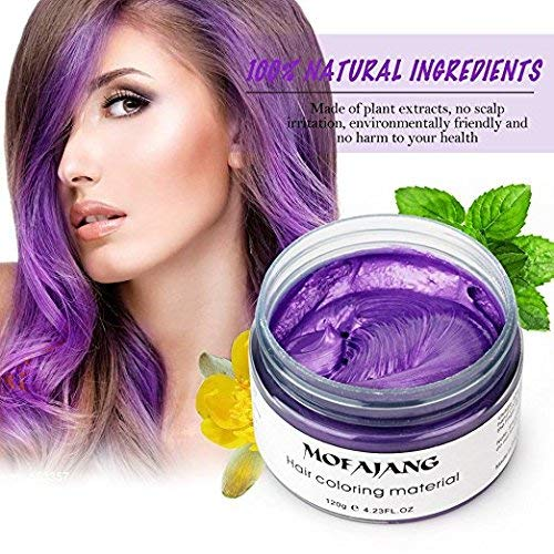 Price comparison product image MOFAJANG Unisex Hair Color Dye Wax Styling Cream Mud,  Jakuva Natural Hairstyle Pomade,  Temporary Jakuva Hair Dye Wax for Party,  Cosplay & Halloween,  4.23 oz(Purple)