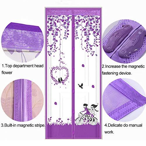 Dkhsy Puerta de pantalla magnética de diseño de encaje floral de marco completo, mosquitera antideslizante cortina de malla manos Libres para puerta de entrada y hogar al aire libre
