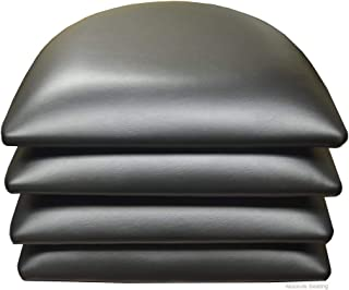 4 PCS Black Vinyl Cushions OR SEAT PAD for Wood Chairs & BAR STOOLS in Restaurants and Home (4, Black)