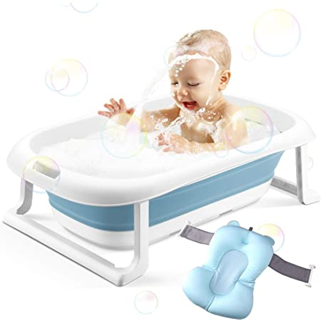 Safety Adjustable Safety Shower Mat Save Space and Easy to Clean,Infant Bath Tub with Comfortable Bath Seat Support Sponge Baby Bathtub Portable Collapsible Toddler Bath tub 0-5 Years Old Blue