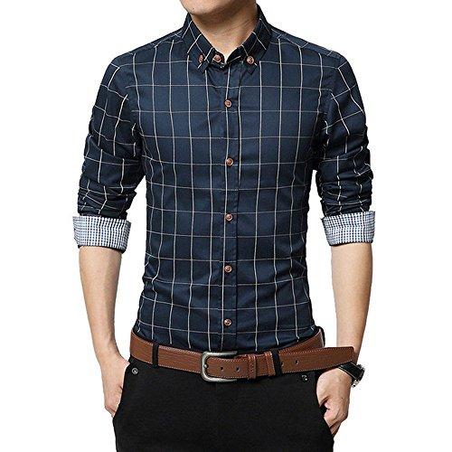 FAMILIZO Camisas Hombre Manga Larga Slim Fit Camisas Hombre Lino Camisas Hombre Originales Baratas Tops Blusa Hombre Blanca Otoño Casual Formal Slim Button-Down Cuadros