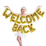 Welcome Back Letter Balloons Gold 16 Inch Foil Mylar Balloon Welcome Back Banner Back to Office and Home Back to School Party Decorations Retirement Party Supplies