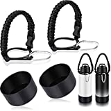 4 Pieces Paracord Handle & Protective Silicone Boot Sleeve Compatible with 32-40 oz Hydro Flask Bottles Accessories with Safety Ring and Clip