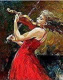 FSKJSZYH Rahmenlose DIY Malen Nach Zahlen Mädchen Spielen Eine Violine Hand Ölgemälde Farbe Wand...