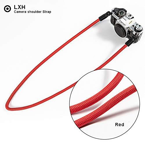 LXH cinturino per fotocamera in nylon fatto a mano universale, tracolla fotocamera tracolla per Leica Canon Nikon Fuji Olympus Lumix Sony (rosso)