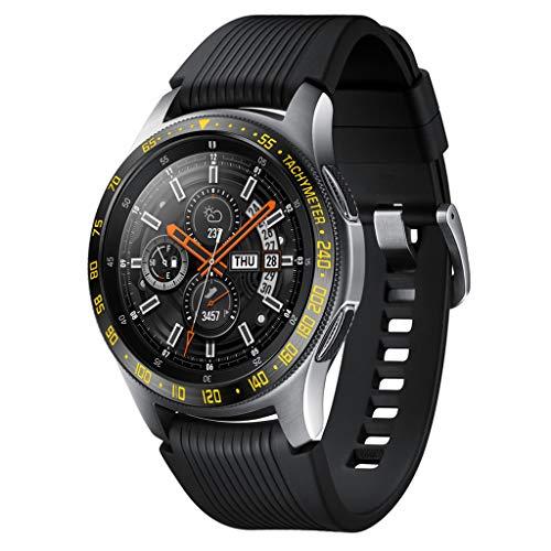 TwoCC für Samsung Galaxy Watch 46mm Lünette Ring Klebstoff Abdeckung Anti Scratch Metal (Gelb)