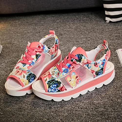 DZQQ Femmes Plate-Forme Sandales 2021 été Bout Ouvert compensé Fond épais Chaussures décontractées Femme à Lacets Respirant Maille Sandales Grande Taille 35-42