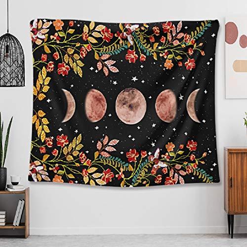 Zodight Tapiz Fase Lunar Flores, Colgante de Pared Lunas Tapiz de Pared Psicodélico, Tapiz de Jardín Iluminado por la Luna, Decoración del Hogar, Misterioso para Recámara