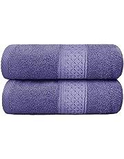 Yoofoss Toalla de baño 100% algodón 2 Piezas 70x140 cm Toalla de Viaje suave y absorbente Toalla de Playa Toallas de Piscina Toalla de mano para el hogar los baños la piscina SPA y el gimnasio púrpura