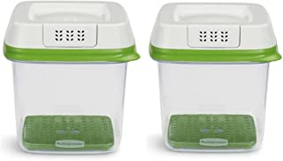 Rubbermaid FreshWorks Produce Saver Food Storage Container, Medium, 6.3 Cup, Green/Set of 2