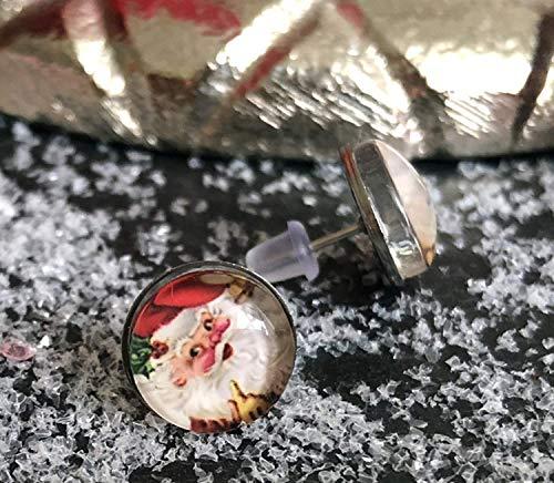 Weihnachtsmann Ohrstecker, Edelstahlohrringe, Weihnachten, 10 mm