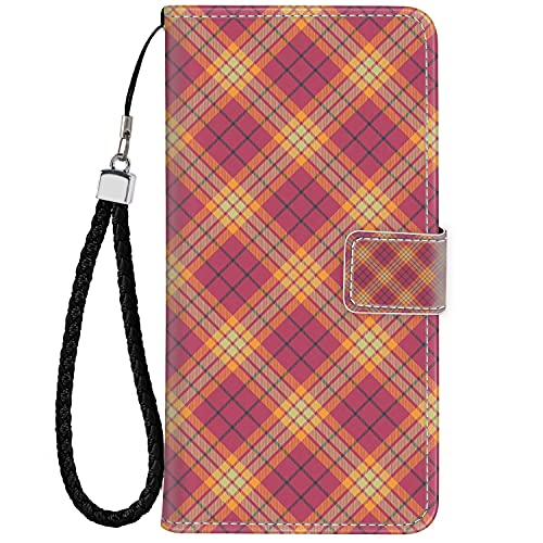 Phone Wallet Case for Moto G6 Plus, Premium PU Leather Case Compatible with Moto G6 Plus (5.93 Inch) Geometric Celtic Checkered Line Art Soft Colored British Tartan Style Repeating Pattern Multicolor