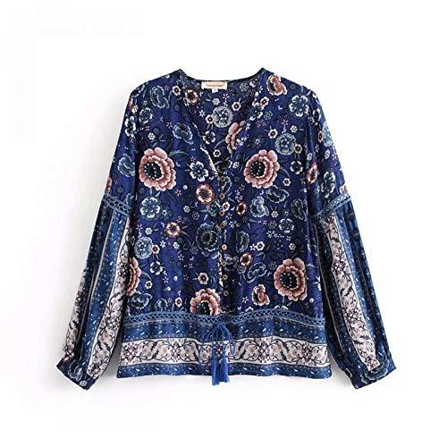 Cnsdy Nieuwe vrouwen bohemian stijl positionering print holle ontwerp kant lange mouwen shirt