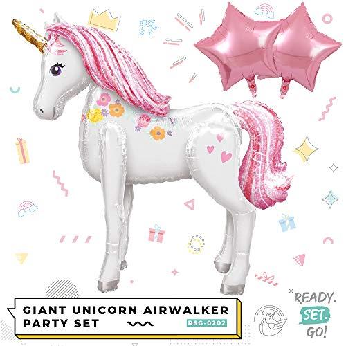 READYSETGO! Giant 3D Unicorn Airwalker Foil Helium Balloon, 116cm 46Inch Giant Pet Walking Party Decoration Unicorn Balloon