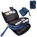 FLYINGCOLORS Electronic Organizer Double Layer Detachable Universal Waterproof Travel Cable Case Cord Accessories Storage Bag for Cable, iPad, Phone, Charger, USB, SD Card (Blue)