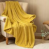 jinchan Fleece Throw Blanket Mustard Yellow Soft Waffle Pattern Flannel Velvet Plush Lightweight Throw for Baby Teens Couch Sofa Recliner Travel Living Room Bedroom Decor Nursery Gift 50 by 60 Inches
