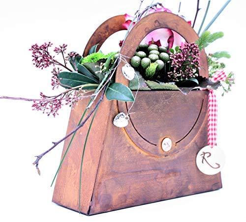 Rostikal Deko Tasche zum Bepflanzen 41 x 41 cm Frühlingsdeko Tisch Deko Wohnzimmer Gartendeko