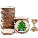 Ponangaga Tranches de Bois Rondin Naturel 30 Pcs, Tranche de Bois Brut Le Bricolage Artisanat Décorations de Mariage de Noël Corde 10M 2.4-2.8 inch