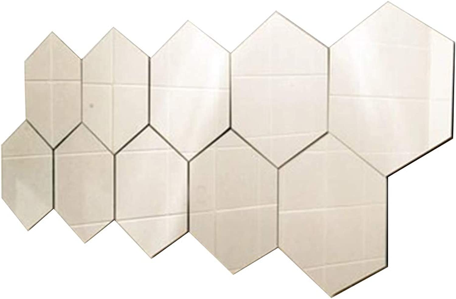 GUOWEI Mirror Wall-Mounted High-Definition Frameless Decoration Hexagon Wall Stickers Simple, 10 Pieces (color   White, Size   Diagonal -21cm)