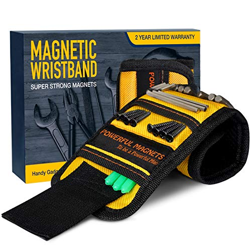 Gifts for Men Magnetic Wristband, Stocking Stuffers for Men Unique Gift for Dad,Hasband,Him Tool Wrist Magnet, Super Strong Magnets for Holding Screws,Tools, Nails,Drill Bits,Tool Belts