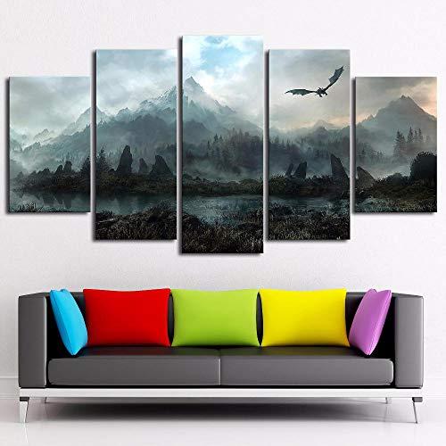 nobrand Leinwand Wandkunst Bilder Home Decor 5 Stück Skyrim Gemälde für Wohnzimmer Modulare Drucke Poster-20x35 20x45 20x55cm Kein Rahmen