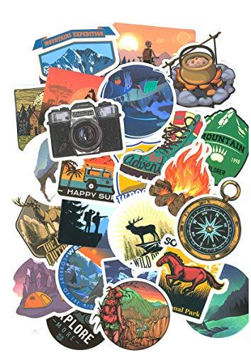 Top pegatinas! Juego de 50 Pegatinas de Camping - Calidad Superior - Vinilos - No Vulgares - Camping, Naturaleza, Montañas - Personalización Portátil, Laptop, Scrapbooking