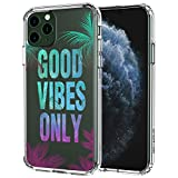 MOSNOVO Good Vibes Only Quotes Pattern Designed for iPhone 11 Pro Max Case,Clear Case with Design Girls Women,TPU Bumper with Protective Hard Case Cover