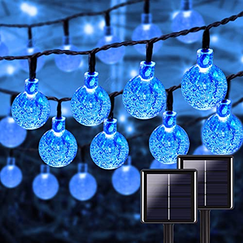 Blue 2-Pack 46FT 160 LED Crystal Globe Solar String Lights, Waterproof Solar Lights Outdoor Decorative with 8 Lighting Modes, Solar Powered Patio Lights for Garden Xmas Party Decor (Blue)