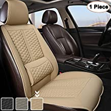 Black Panther Car Seat Cover, 1 Piece Universal Sideless Driver Seat Protector with Lumbar Support and Headrest Cover (Beige)