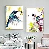 OCRTN Carteles e Impresiones de Animales con colibrí en Acuarela, Pintura en Lienzo, Pintura de Aves, Cuadros artísticos de Pared para decoración de Sala de Estar de niños, 50 x 70 cm x 2 (sin Marco)