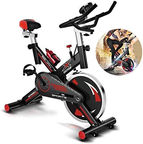 LAMTON Heimtrainer, Geräteinnenradfahrtraining mit Widerstandseinstellung Knopf und Kalorienzähler, 8KG Flywheel, Verstellbarer Sitz und Armlehne