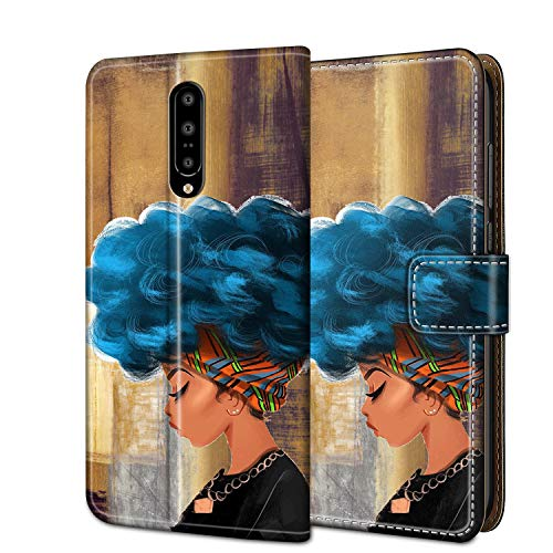 OnePlus 7 Pro Wallet Case Cover,AXZZO Full Body Protection Leather Flip Cover Purse with ID & Credit Card Slots Pockets [Kickstand] Phone Cases for OnePlus 7 Pro 5G (2019),African Girl with Blue Hair