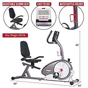 Body Champ Magnetic Recumbent Exercise Bike, Reclined Stationary Bike, Workout Bike for Home, BRB5872