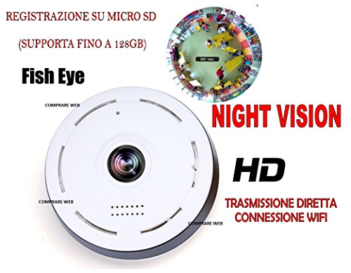 TELECAMERA FULL HD ROTANTE WIFI IP CAMERA HD 720P WIRELESS LED IR LAN 360° fisheye TRASMISSIONE DIRETTA INTERNET