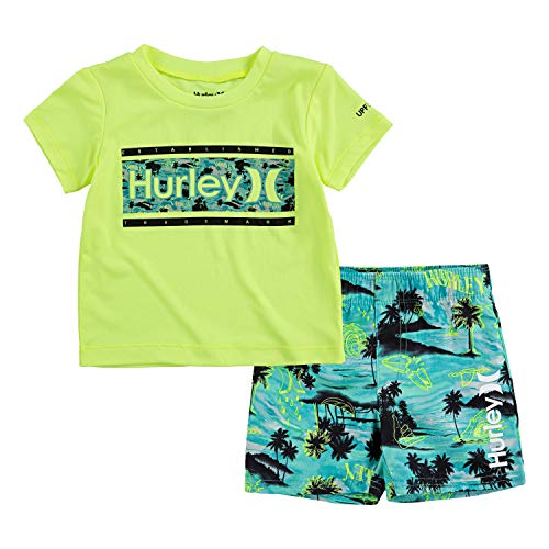 Hurley Baby Boy's Swim Suit 2-Piece Outfit Set, Green/Doodle, 6