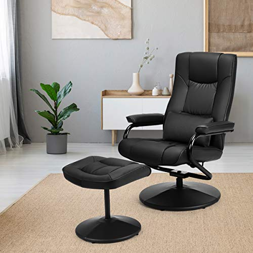 Giantex Recliner Chair w/Ottoman, 360 Degree Swivel PU Leather Chair w/Footrest, Lounge Armchair w/Overstuffed Padded Seat and Leather Wrapped Base, for Home Office Living Room(Black)
