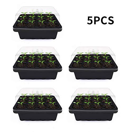 Relax love Lot de 5 Bac a Semis Chauffant avec Couvercle 18x14x5cm,Mini Serres pour Semis,Pot de Pépiniere Plastique à 12 Cellules,Plateau de Semence pour Plantes