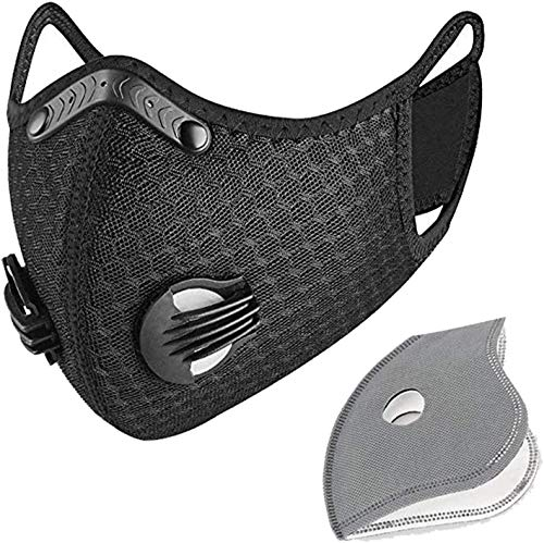 Qikafan Sport Dustproof Reusable Activated Carbon Mask, Filtration Exhaust Gas Anti Pollen Allergy for Outdoor Sport, Running, Motorcycle Cycling,Bike Riding Mask Black