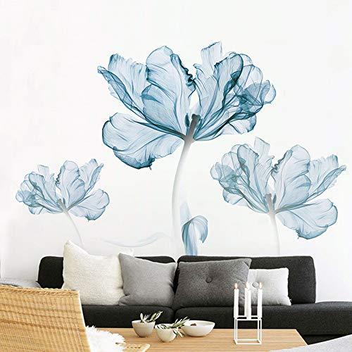 Pdrui Wandtattoo für Wohnzimmer, Blaue Blumen Wandsticker als Wanddekoration für Schlafzimmer Kinderzimmer 80cm×110cm Wand Aufkleber | Deko Wandtattoo für Wand Fenster Möbel/Schrank Küche Bad Flur