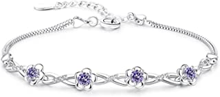 925 الفضة الاسترليني مجوهرات امرأة الأرجواني كريستال أساور سحر أساور للنساء مربع سلاسل سوار يانجين (اللون: أرجواني)