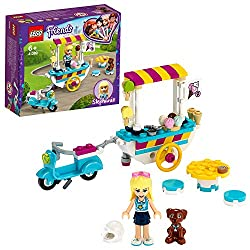 Features a sccooter with turning wheels, a detachable trailer cart with ice-cream, plus a table and 2 stools to serve customers! Includes Stephanie mini doll and Dash the Dog figure to assist her while on the go to sell her frozen treats to Heartlake...