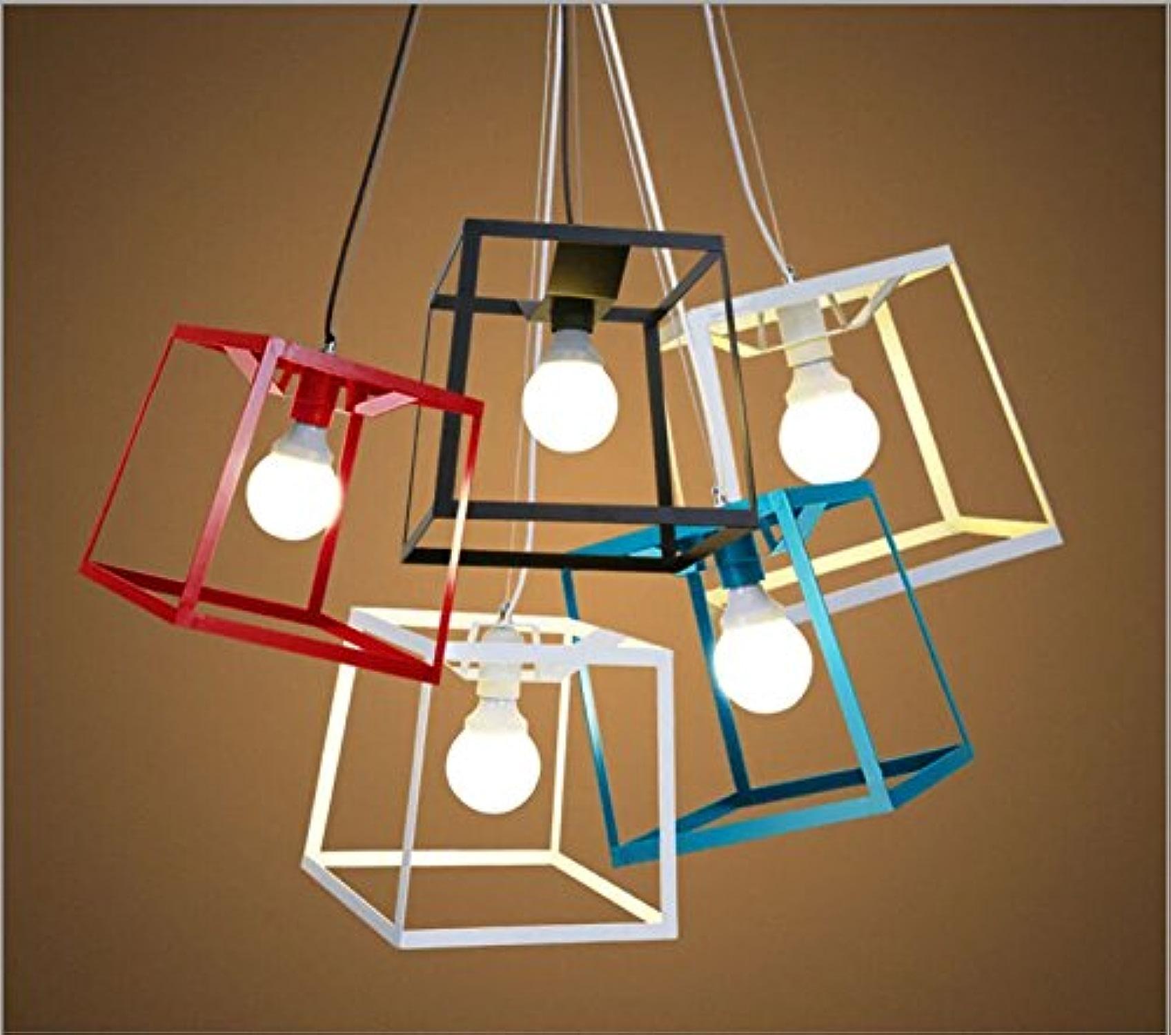 Salle de séjour chambre à coucher moderne bar restaurant l'étude de l'art fort fer couleur rétro lustre lampe de tête simple-petit-blanc,