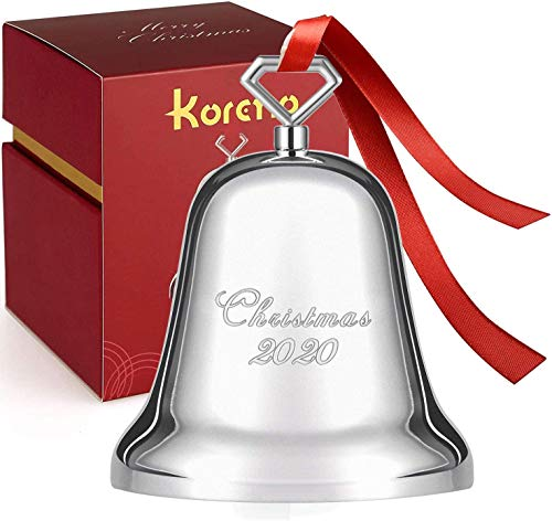 Koreno 2020 Annual Christmas Bell, Silver Bell Ornaments Nickel-Plated for Christmas Tree Decorations, Holiday Bell Jingle Bell for Anniversary with Ribbon & Gift Box