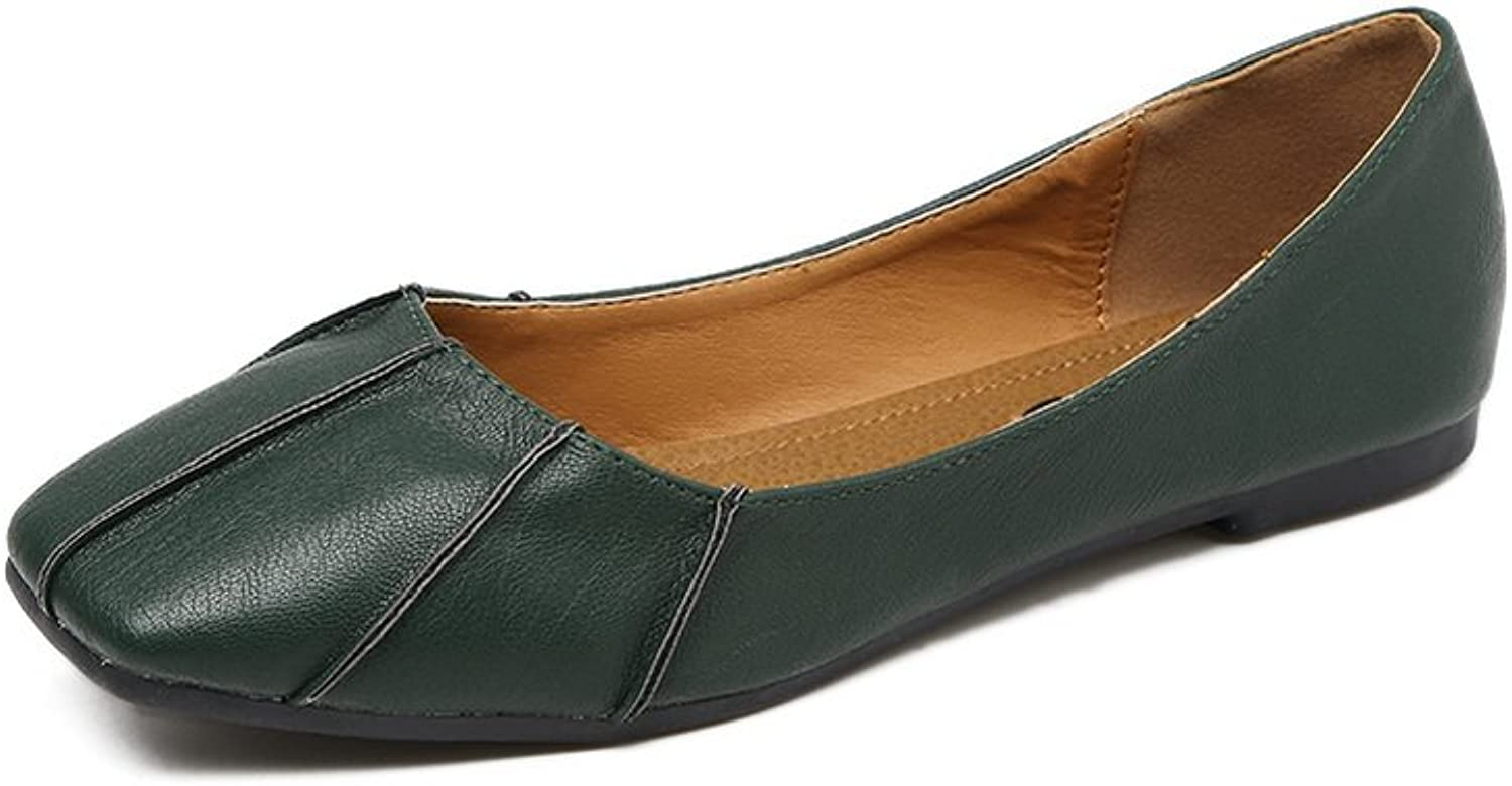 Ladola Womens Square-Toe No-Closure Low-Cut Uppers Urethane Flats shoes