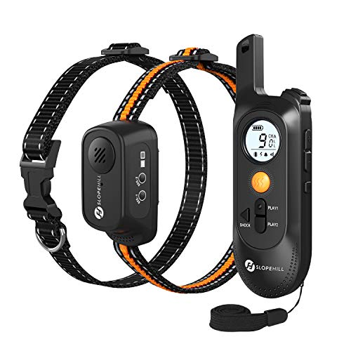 Slopehill Dog Training Collar with Voice Commands, Beep, Vibration and Shock Modes, Rechargeable Waterproof Dog Shock Collar, Adjustable Levels Electric Dog Collar Set for Small Medium Large Dogs
