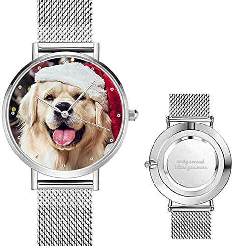 Reloj Personalizado para Mujer, Reloj con Foto, Reloj Personalizado, Reloj Rosa, Reloj Plateado, Reloj Impermeable, Cumpleaños, Graduación, Boda, Mejor Regalo