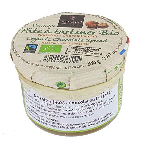 BOVETTI CHOCOLATS - Pâte À Tartiner Chocolat Au Lait Noisettes 200G - Lot De 2