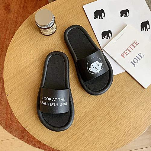 TDYSDYN Zapatos de Piscina Zapatos de Agua para baño,Zapatillas de baño para el hogar, Bonitas Zapatillas con Fondo suave-16-negro_36-37