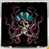 Tooperue Shower Curtain for Bathroom with Hooks Drawn Illustrations Pirate Skull with Tentacles of Octopus 78×72 Inch,Eco-Friendly,No Oder,Waterproof,Peach Blue