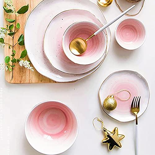 Karid De vajilla de Cocina, Platos y Cuencos Resistentes a Las roturas | Vajilla de Porcelana esmaltada Rosa degradada para reuniones Familiares y Regalos